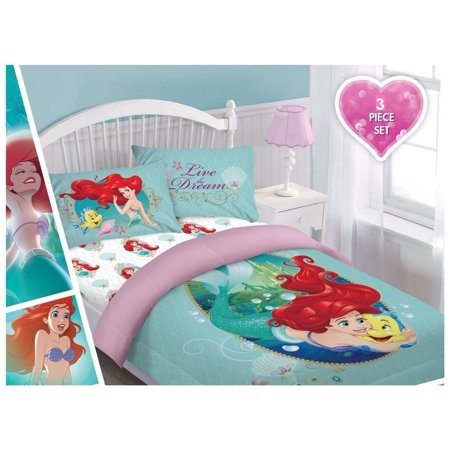 Dreams Comforter Set - Disney 3pc ARIEL Sea Dreams Bedding Set, Licensed Twin Comforter W/Fitted Sheet And Pillowcase