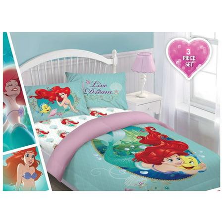 Disney 3pc Ariel Sea Dreams Bedding Set Licensed Twin Comforter W Ed Sheet And