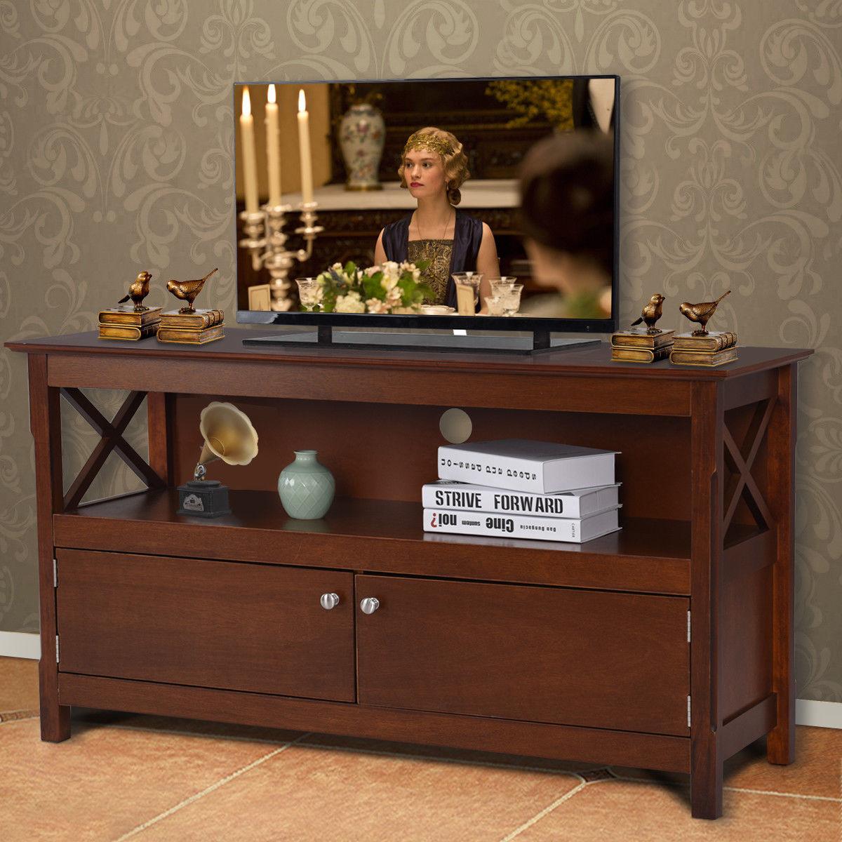 "44"" TV Stand Console Wooden Storage Cabinet Shelf Media Center Stand - image 9 de 9"
