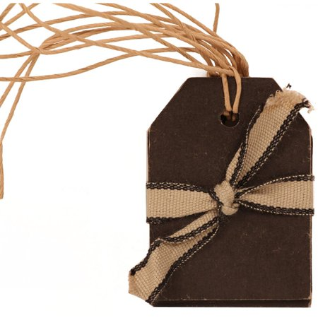 JAM Paper Recycled Kraft Gift Tags with Twine String, Small, 2 1/4 x 1 5/8, Black, 6 per