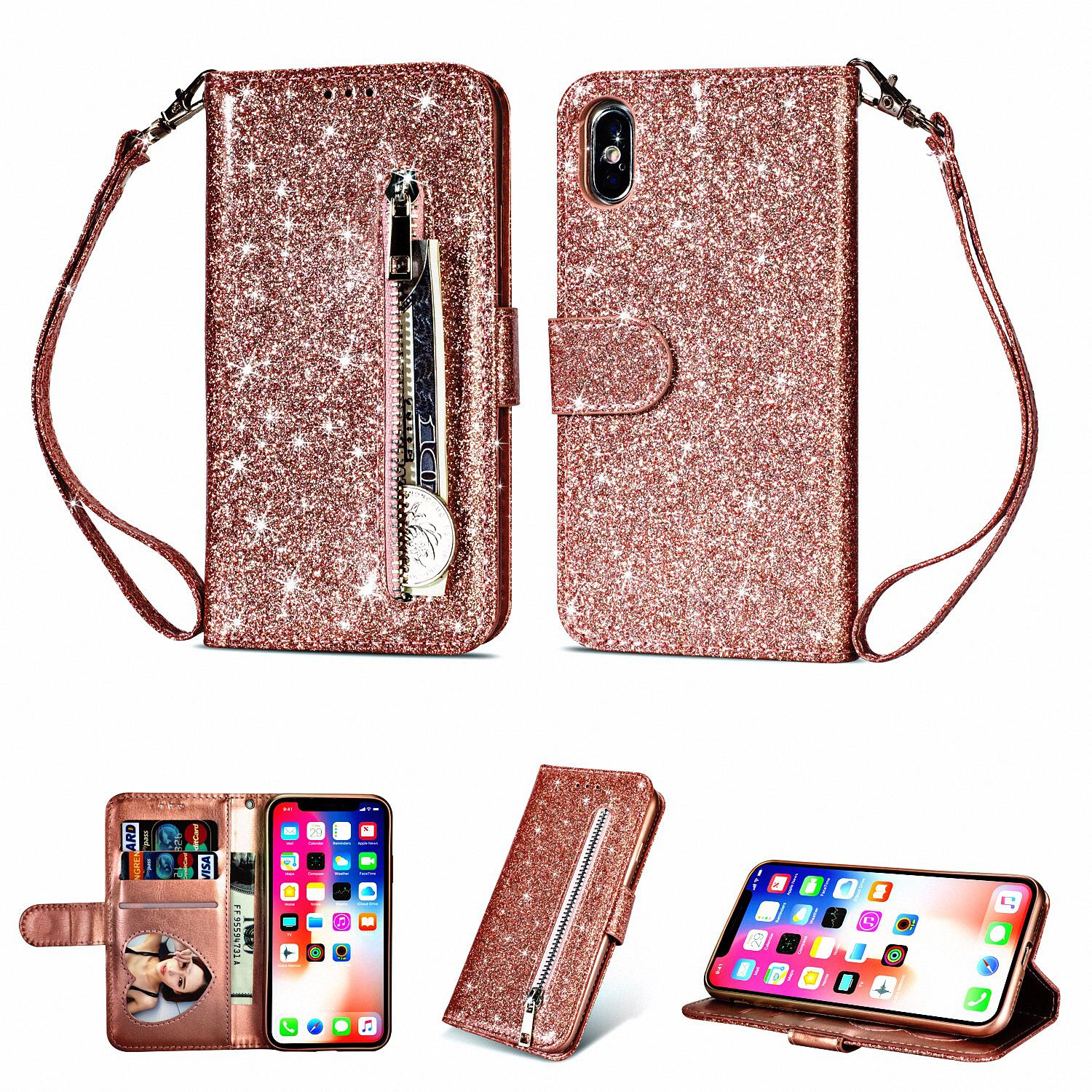 """Allytech iPhone X Case, Premium PU Leather Glitter Protective Zipper Cards Slots Wallet Case Cover with Hand Strap Shockproof Stand Cover for Apple iPhone X 5.8"""" 2017 Released, Rosegold"""