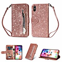 """iPhone XS Max Case, Allytech PU Leather Glitter Bumper Shockproof Cards Slots Wallet Case with Zipper & Hand Strap Protective Cover for Apple iPhone XS Max 6.5"""" Screen, Rosegold"""