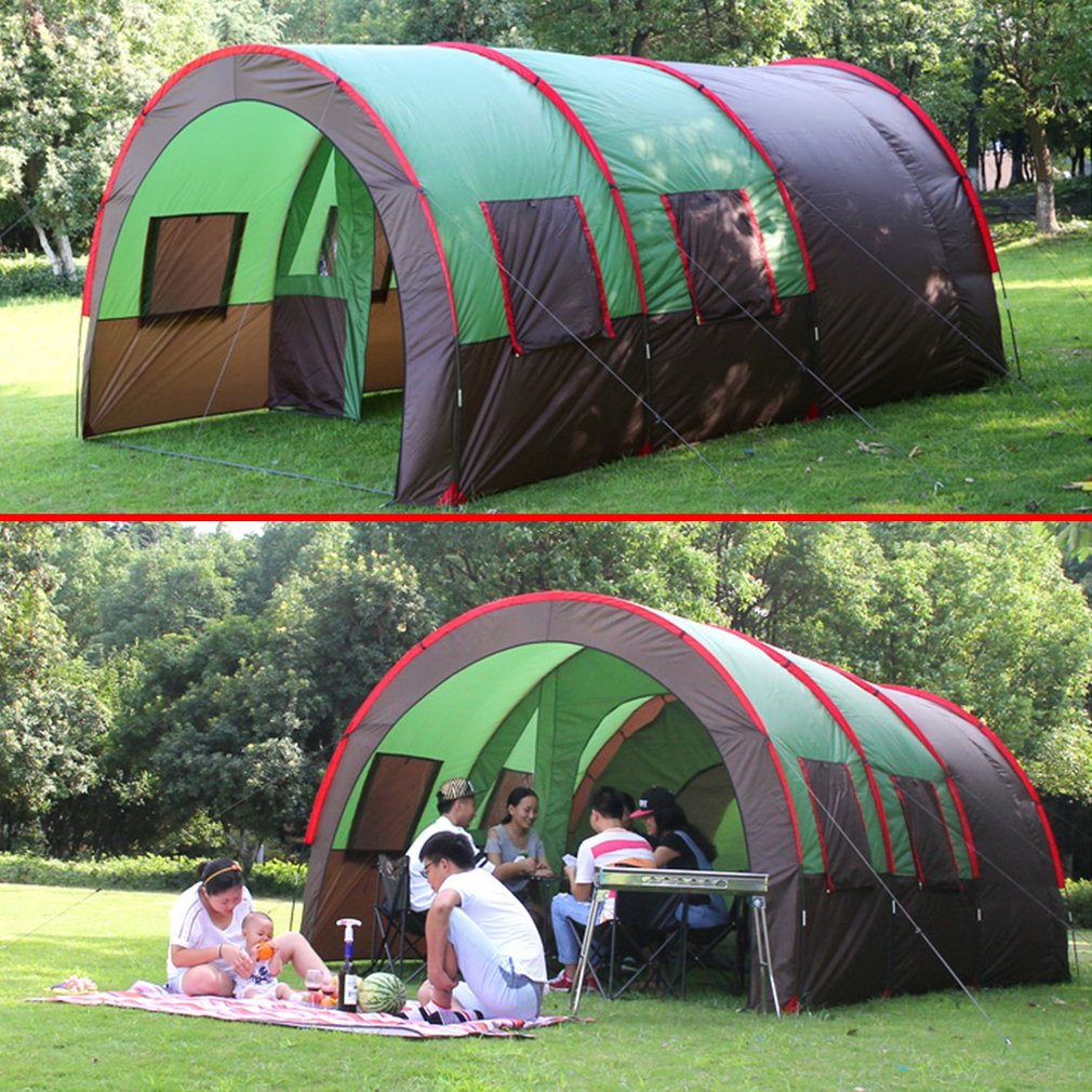Waterproof 10 Person Family C&ing Tents Bundles Double Layer Tunnel Family Outdoor C&ing Large Tent & Waterproof 10 Person Family Camping Tents Bundles Double Layer ...