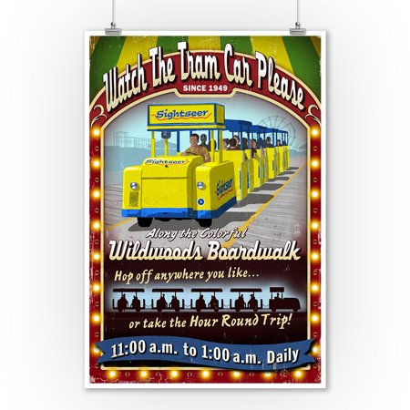 Vintage Car Decor (Wildwood, New Jersey - Tram Car Vintage Sign - Lantern Press Artwork (9x12 Art Print, Wall Decor Travel)