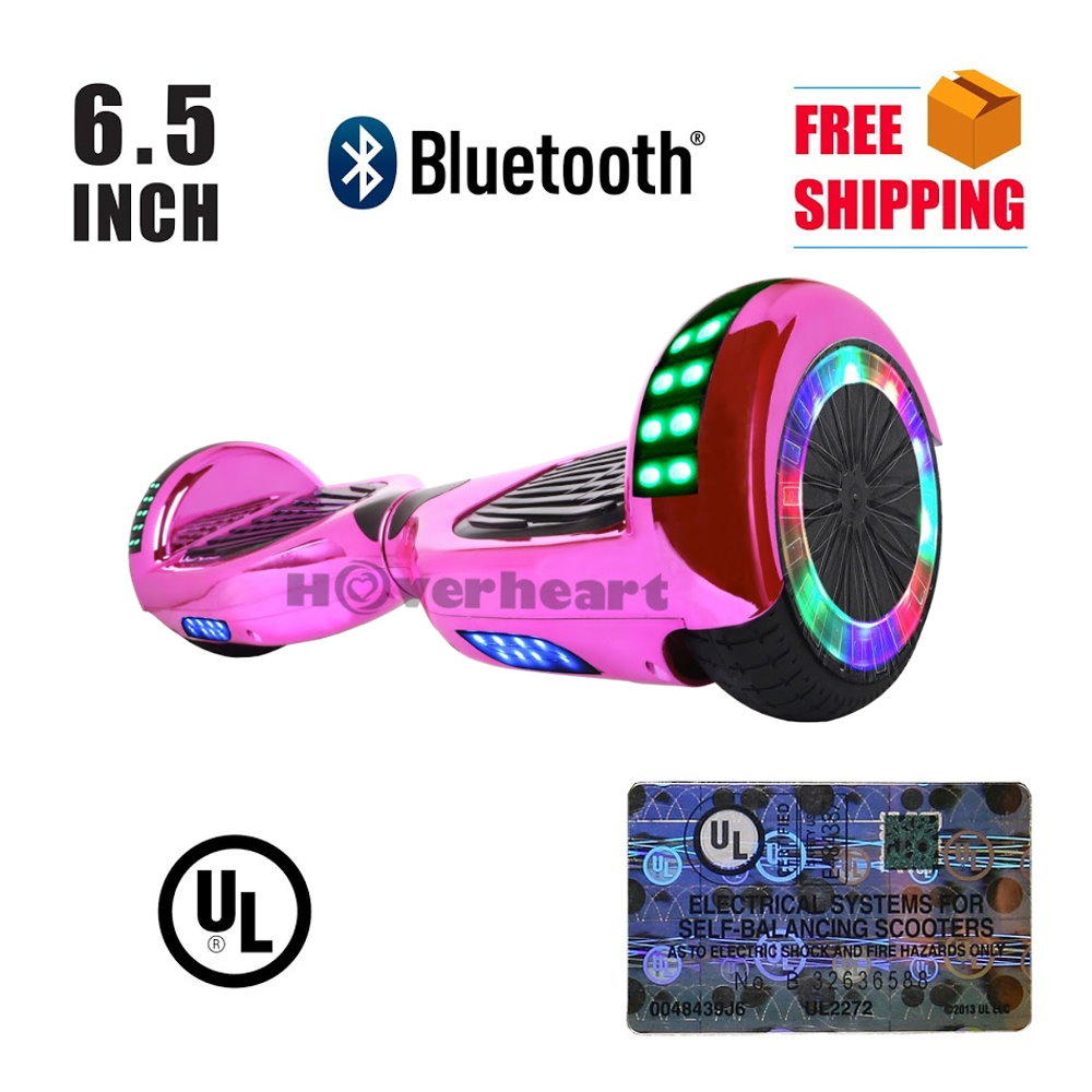 """UL2272 Certified TOP LED 6.5"""" Hoverboard Two Wheel Self Balancing Scooter Chrome Pink"""