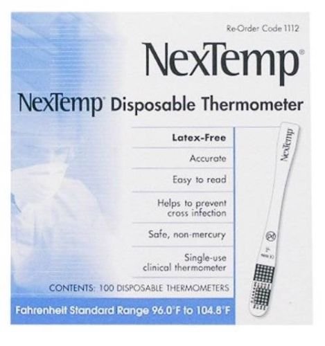 Clinical Thermometer By NexTemp, Disposable Single Use 2 Boxes (200) MS85440