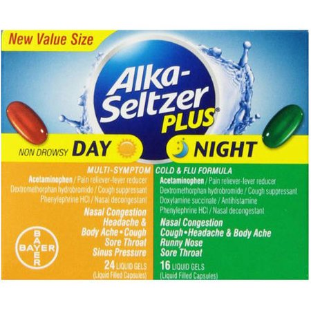 Image of Alka Seltzer Day/Night Cold and Flu Liquid Gels, 40 CT (Pack of 4)