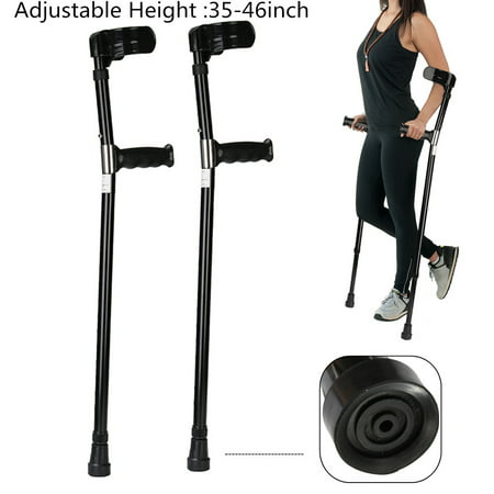 1 Pair Universial Aluminum Anti-slip Medical Adjustable Height Walking Forearm Crutches Walking Crutche Stick Lightweight Arm Cuff Elbow Armor Prevent-shaking Adult ()