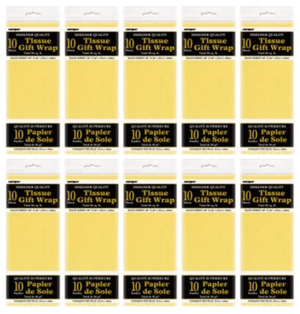 (10 Pack) Tissue Paper Sheets, 26 x 20 in, Yellow, 10ct