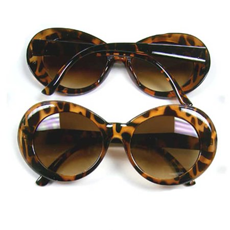 Jackie O Tortoise Sunglasses Onassis Kennedy Mod Kurt Cobain Nirvana Brown Round - Coffin Glasses
