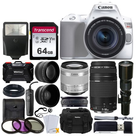 Canon EOS Rebel SL3 Digital SLR Camera (White) + EF-S 18-55mm is STM & EF 75-300mm Lens + 500mm Long Lens + 58mm Wide Angle & 2X Telephoto Lens + 64GB Memory Card + Filter Kit + Wired Remote +
