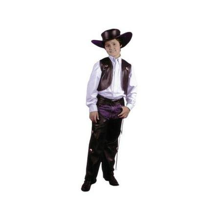 Child's Black Cowboy Leather Chaps & Vest Costume (Cowboy Vest Costume)