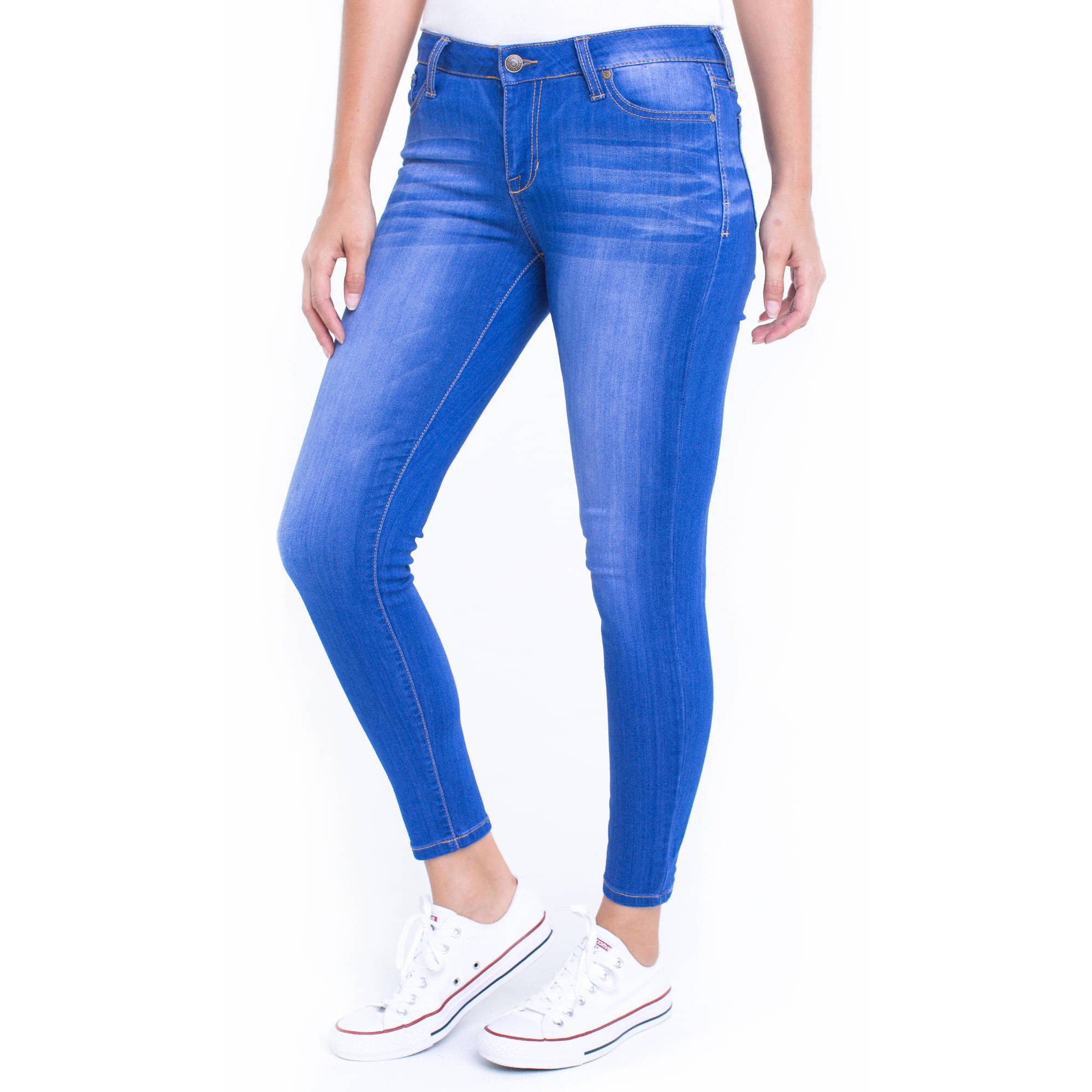 Planet Pink Juniors' Super Stretch 5 Pocket Ankle Skinny Jeans