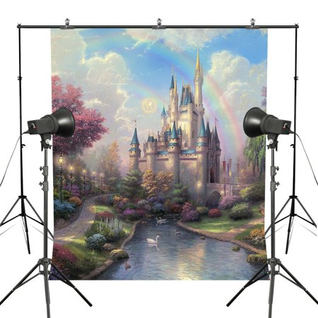 HelloDecor Polyster 7x5ft Dream Castle Theme Photography Backdrop for Wedding Princess Beautiful Background - Princess Themed Wedding