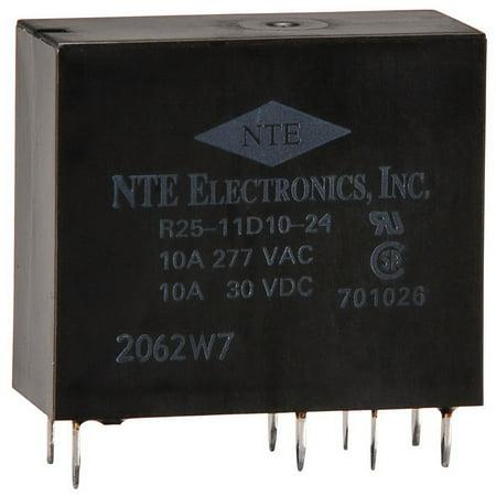 NTE R25-11D10-24 10A 24 VDC DPDT Epoxy Sealed PCB Relay