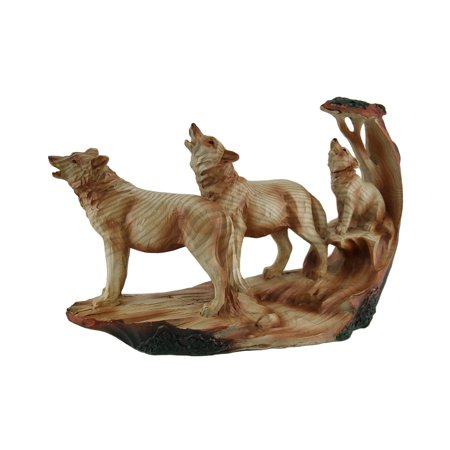 Howling Wolf Family Carved Wood Look Resin Statue