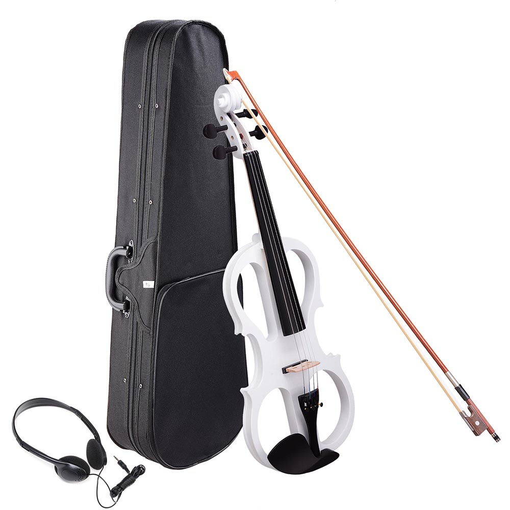 4 4 Electric Violin Full Size Wood Silent Fiddle Stringed Instrument Bow Headphone Case by Yescom