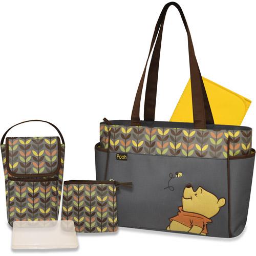 Disney Winnie the Pooh 3 Piece Diaper Bag Set with Bonus Bottle Bag