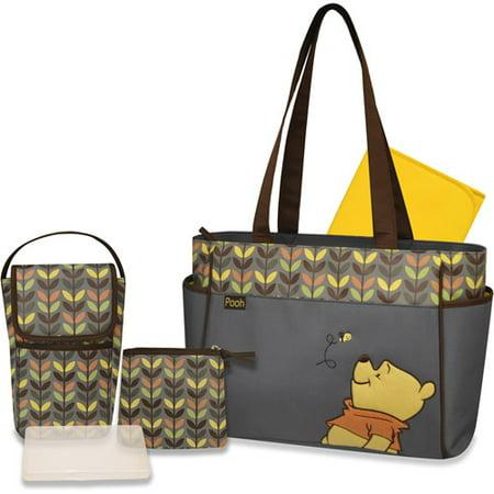 dbb64f4ad8c5 Disney Winnie the Pooh 3 Piece Diaper Bag Set with Bonus Bottle Bag -  Walmart.com