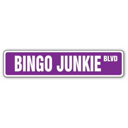 "BINGO JUNKIE Street Sign grandma game set cards ball | Indoor/Outdoor |  24"" Wide"