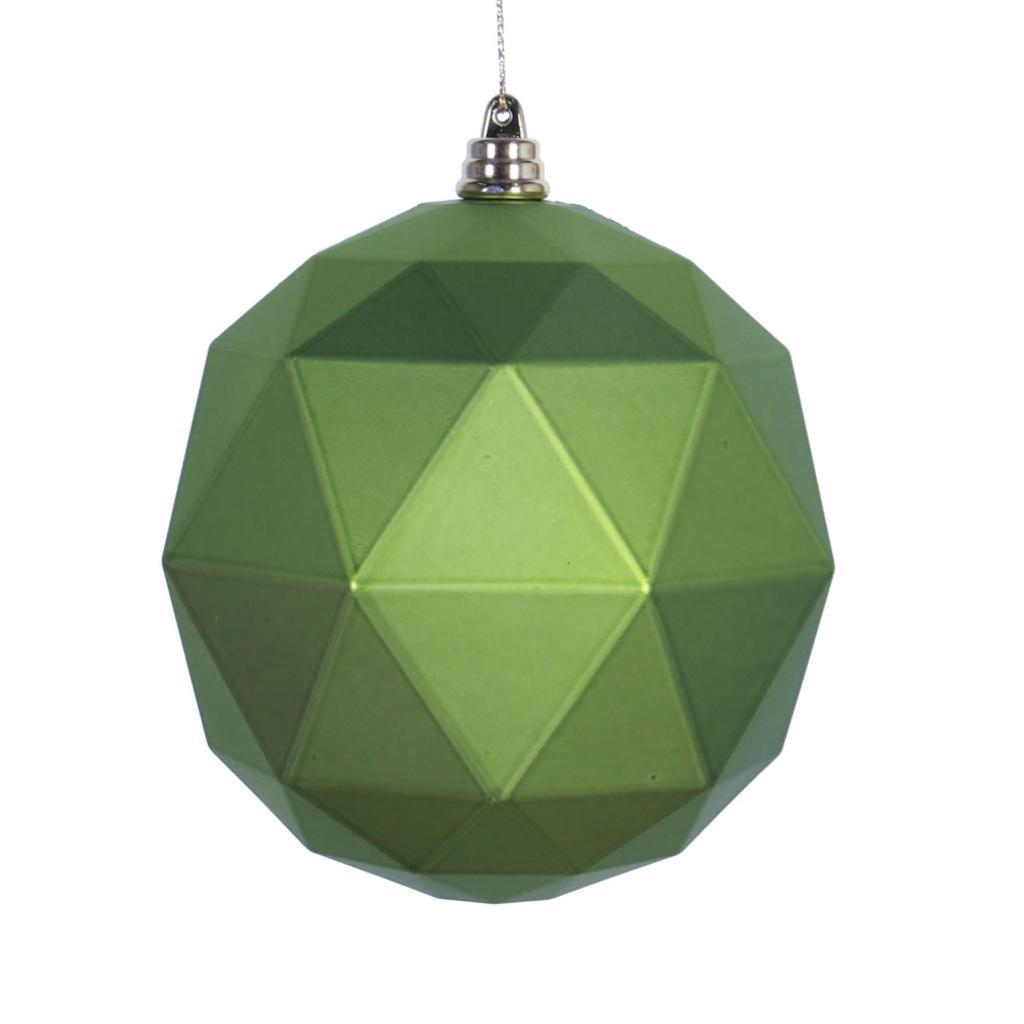"Vickerman 467633 - 4.75"" Lime Matte Geometric Ball Christmas Tree Ornament (4 pack) (M177373DM)"