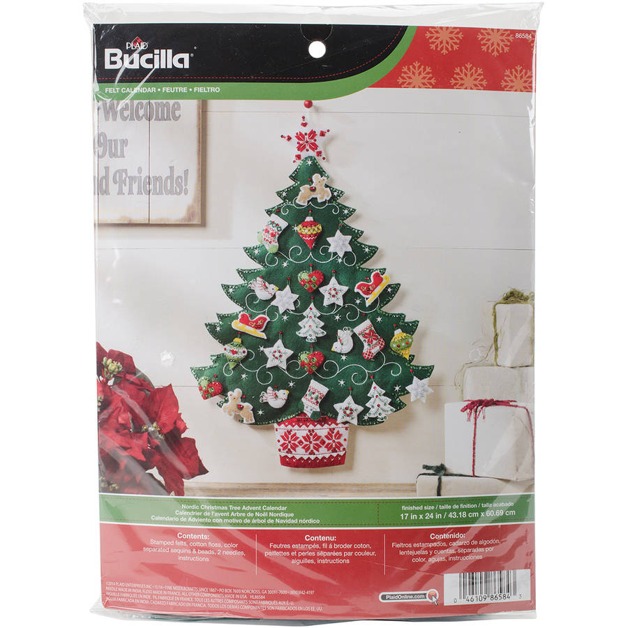 "Nordic Tree Advent Calendar Felt Applique Kit, 17"" x 24"""