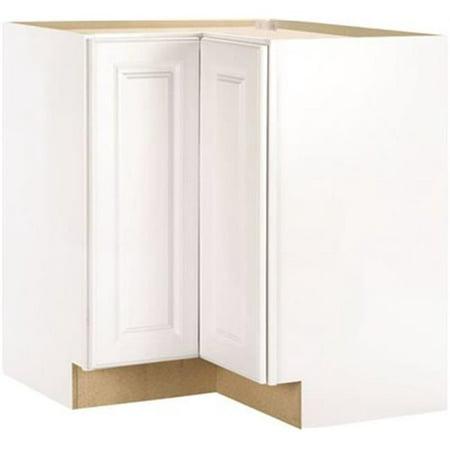 Hampton Bay 2478262 Hampton Assembled 28.5X34.5X16.5 In. Lazy Susan Corner Base Kitchen Cabinet In Satin White (Hampton Bay Kitchen Cabinet)