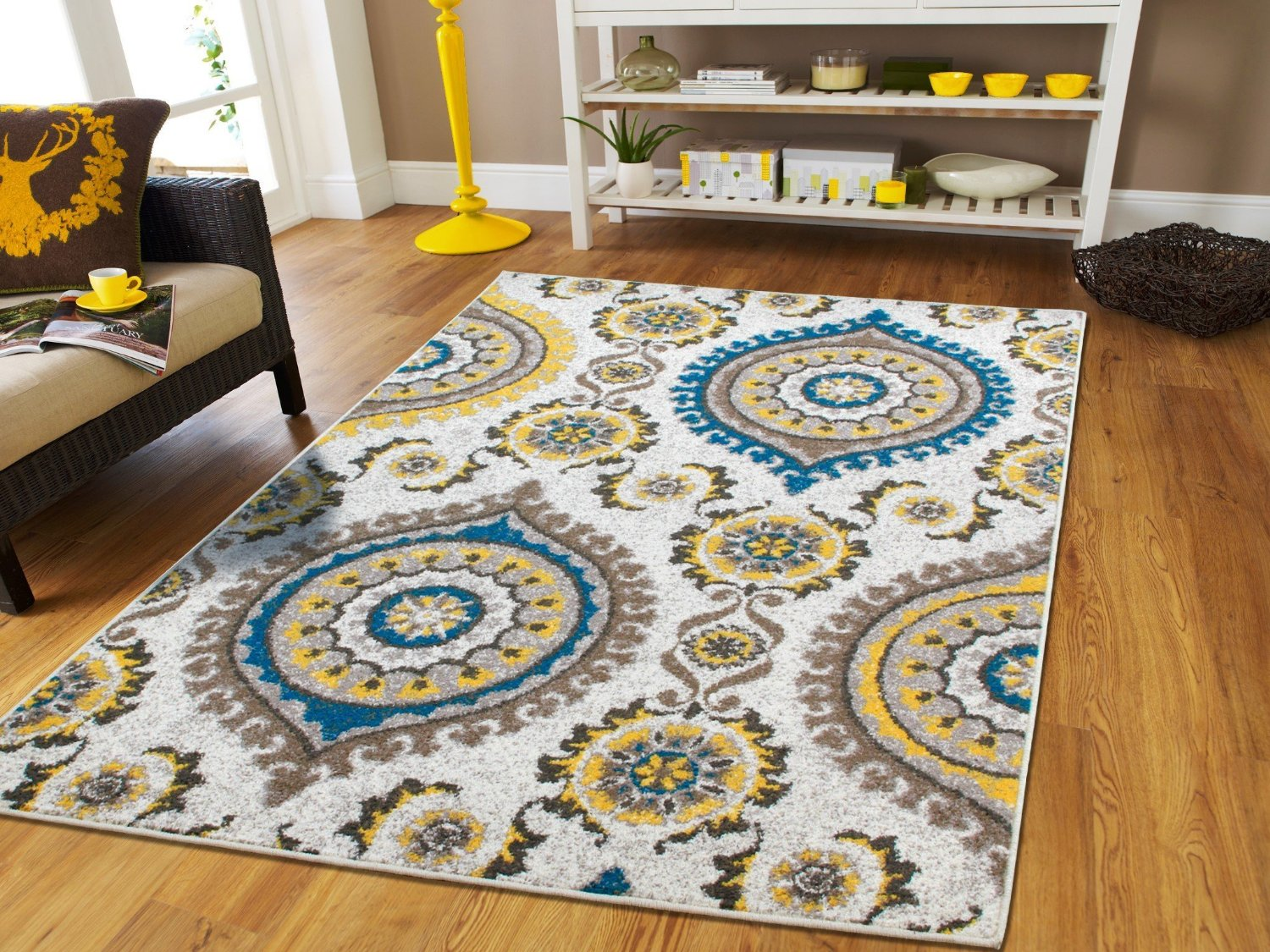 Beau Living Room Rugs On Clearance 8x10 Yellow Gray Blue Brown Contemporary Rugs  For Living Room 8