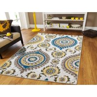 New Runners Rugs 8 Feet Long Modern Foyer Rugs Indoor 2x8 Grey Cream Blue Yellow Beige 2x7 Long Runners For Hallway Runner Blues Carpet, 2x8 Runner Rug