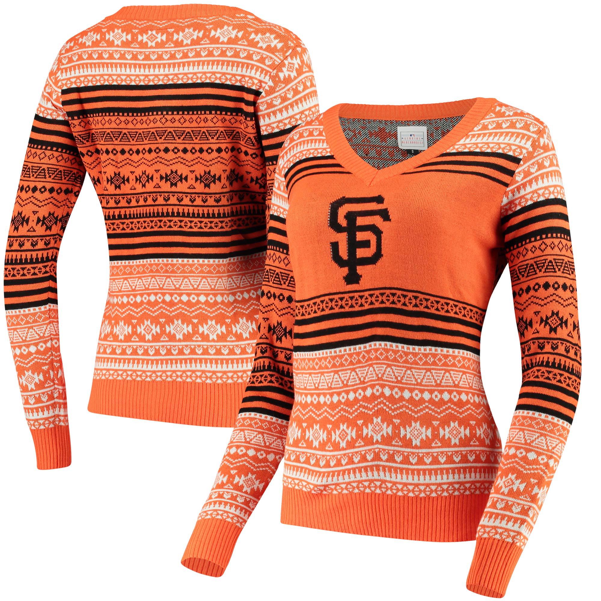San Francisco Giants Women's Big Logo Aztec V-Neck Sweater - Orange