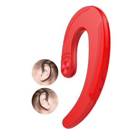 Noise Free Headphones - Bluetooth Headset. Bangde Unique Non-Earbuds Wireless Bluetooth Headphone HD-Sound & Noise-Cancelling earplug with Mic. Hand Free Painless Ear-Hook Earpieces for iphone X,Android(Red)