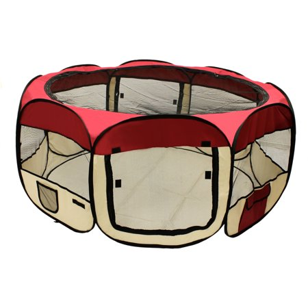 Aleko Dk 49 Bg Octagon Pet Playpen Dog Puppy Exercise Kennel  Burgundy  45   Diameter X 24   Height