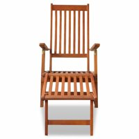 Mgaxyff Outdoor Deck Chair with Footrest Solid Acacia Wood