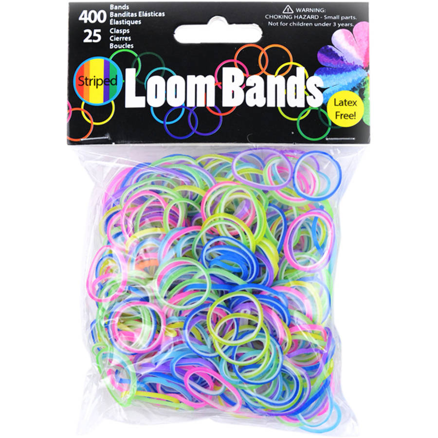 Patterned Loom Bands 400/Pkg W/25 Clasps-Striped