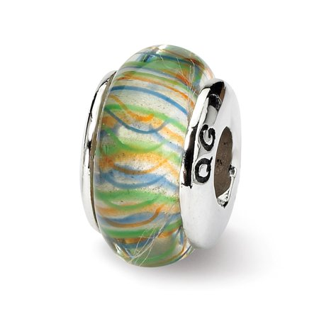 Roy Rose Jewelry Sterling Silver Reflection Beads Green Pastel Striped Hand-blown Glass Bead