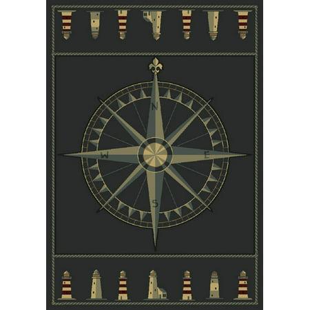 Designer Home Angles Area Rugs - 510-24966 Contemporary Smoke Blue Compass Lighthouse Nautical Rope Rug ()