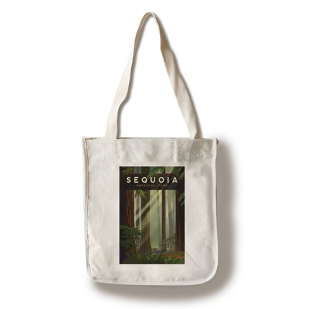 Sequoia National Park, California - Redwood Forest - Geometric Lithograph - Lantern Press Artwork (100% Cotton Tote Bag - (Best Camping In Sequoia National Forest)