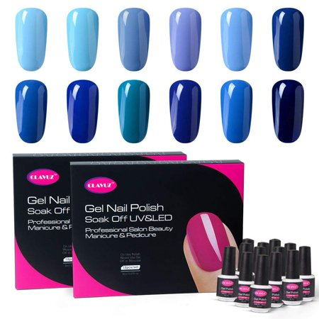 CLAVUZ Gel Polish Kit 12pcs Soak Off Blue Nail Polish Salon Beauty ...