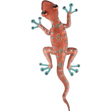 Tropical Rainforest Coppery Gecko Lizard Metal Wall Art Decor 11 Inches ()