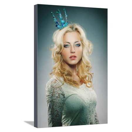 Woman Wearing Princess Crown Stretched Canvas Print Wall Art By chesterf