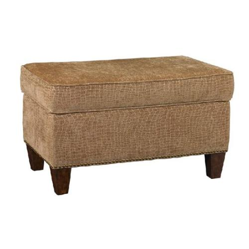 "29"" Neutral Beige Plush Flaxen and Softly Sculpted Reptile Studded Ottoman"