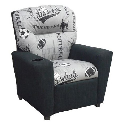 Brazil Furniture 4-Button Back Child Recliner Sports Storm Gray and Powell Gray by Brazil Furniture Inc