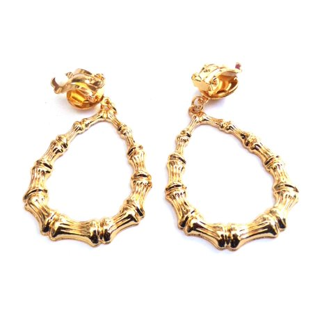Clip On Bamboo Teardrop Hoop Gold Tone Earrings Non Pierced 2.5 In L (Gold Tone Teardrop Link)