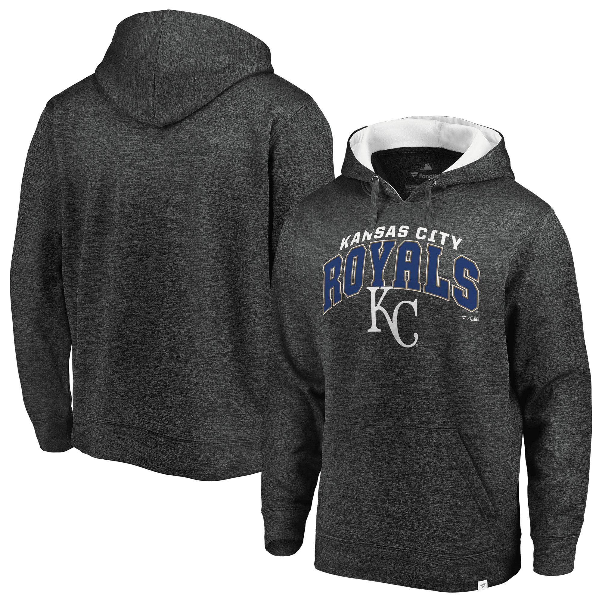 Kansas City Royals Fanatics Branded Steady Fleece Pullover Hoodie - Gray/White