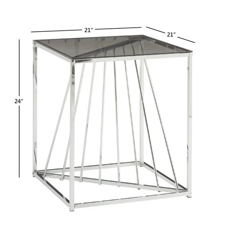 Weston Home Anna Square Metal and Glass Top End Table, Champagne Gold