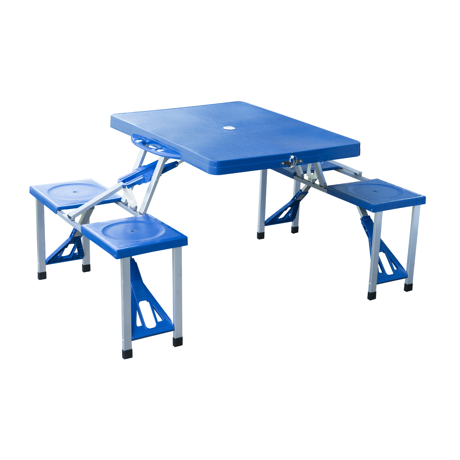 Outsunny Outdoor Portable Suitcase Folding Picnic Table W/ 4 Seats   Blue