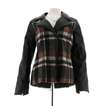 Denim & Co Plaid Faux Leather Motorcycle Jacket A270183