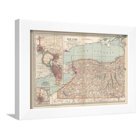 Plate 71. Map of New York State Framed Print Wall Art By Encyclopaedia