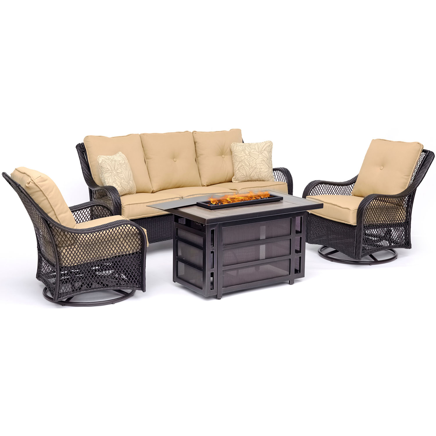 Hanover Orleans 4-Piece Woven Lounge Set with 30,000 BTU Firepit Table in Sahara Sand by Hanover