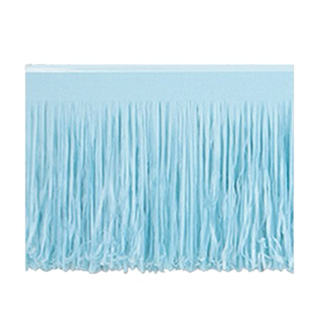 Club Pack of 12 Light Blue Hanging Tissue Fringe Drape Decorations 10'